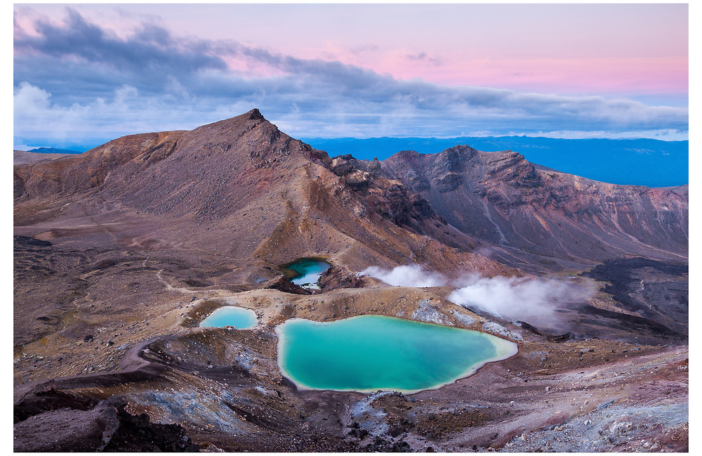 Blue Lakes from Red Crater, Tongariro National Park.