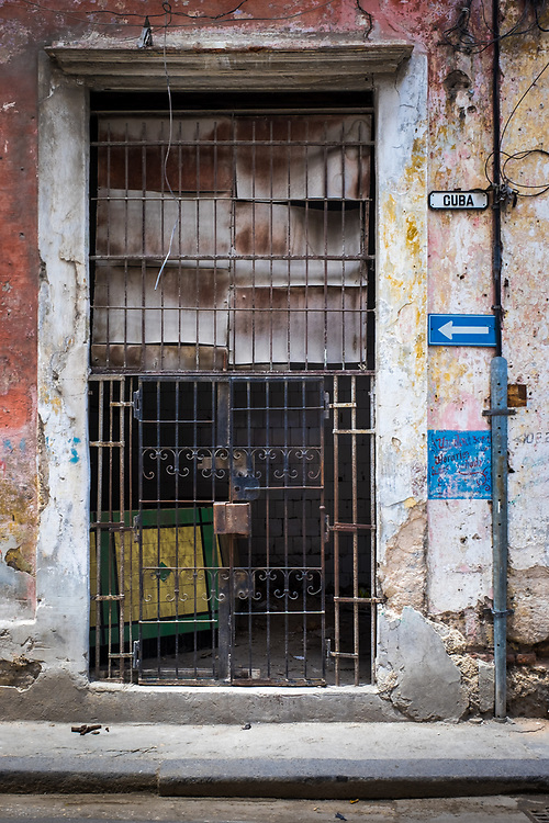 HAVANA, CUBA - CIRCA MAY 2016:  Abandoned store in Centro Havana, Cuba.