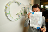 Joe Hughes, one of the the architects behind Google Transit, holds a Google transit map of Boston at Google headquarters in Mountain View, Calif. on Tuesday August 4, 2009. (Photo by Jakub Mosur/For Boston Globe)