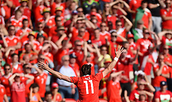 Gareth Bale of Wales appeals for a free kick in front of the Wales fans  - Mandatory by-line: Joe Meredith/JMP - 25/06/2016 - FOOTBALL - Parc des Princes - Paris, France - Wales v Northern Ireland - UEFA European Championship Round of 16