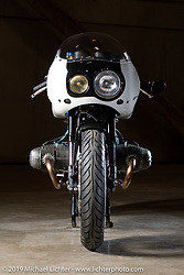 Custom bike builders Mike Watanabe and Luke Ransom of Union Motorcycle Classics fabricated White Hot, a track inspired 1993 BMW R100R. Shown at the Handbuilt Show. Austin, TX. USA. Friday April 20, 2018. Photography ©2018 Michael Lichter.