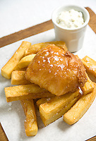 Non traditional Tom Aikens fish and chips photographed for M&S Food.