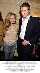 MR & MRS ZAC GOLDSMITH he is the son of the late Sir James Goldsmith, at a party in London on 13th May 2002.OZY 43