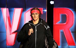 Alexander Zverev arrives prior to the start of his singles match during day six of the Nitto ATP Finals at The O2 Arena, London.