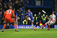 Eden Hazard of Chelsea crossing the ball. Premier league match, Chelsea v Stoke city at Stamford Bridge in London on Saturday 31st December 2016.<br /> pic by John Patrick Fletcher, Andrew Orchard sports photography.