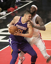 December 20, 2017 - Los Angeles, California, U.S - Alex Len #21 of the Phoenix Suns  goes for a shot during their NBA game with the Los Angeles Clippers  on Wednesday December 20, 2017 at the Staples Center in Los Angeles, California. Clippers vs Suns. (Credit Image: © Prensa Internacional via ZUMA Wire)
