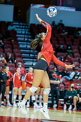 BLOOMINGTON, IL - October 23: Kaitlyn Prondzinski during a college Women's volleyball match between the ISU Redbirds and the Drake Buldogs on October 23 2021 at Illinois State University in Normal, IL. (Photo by Alan Look)