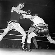 J. McGlory (right) of Holy Family Boxing Club, Belfast, gets throught the defence of bearded W. Wright of Phoenix Boxing Club, Dublin, with a straight left to the body, during their Second Series, Lightweight Bout of the Irish Senior Boxing Championships at the National Boxing Stadium, Dublin..21.03.1962