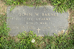 31 August 2017:   Veterans graves in Park Hill Cemetery in eastern McLean County.<br /> <br /> John W Barnes  Private First Class US Army  World War II  Jun 15 1920  Jun 7 1980