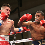 KISSIMMEE, FL - MARCH 06:  Jeffrey Ramos (R) catches Jovan Perez with a right cross during the Telemundo Boxeo boxing match at the Kissimmee Civic Center on March 6, 2015 in Kissimmee, Florida. Ramos won the bout by split decision. (Photo by Alex Menendez/Getty Images) *** Local Caption *** Felix Verdejo; Sergio Villanueva