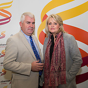 08.12.2016                   <br /> Pictured at the launch of the Shannon Airport Christmas Racing Festival at Hunt Museum were, Leo O'Connor, Clare Champion and Laurna Clancy, Limerick Leader. Picture: Alan Place