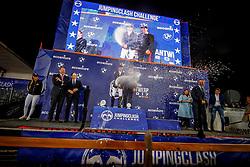 Johan Dejaeger, Peter Henrich, Delaveau Patrice, FRA, Emanuele Gaudiano, ITA, Accenture, Daniel Entrecanales<br /> Accenture Jumpingclash Challenge<br /> presented by BMW<br /> Jumping Antwerpen 2017<br /> © Hippo Foto - Dirk Caremans<br /> 21/04/2017