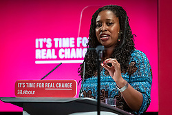 © Licensed to London News Pictures. 26/11/2019. London, UK. Shadow Women & Equalities Secretary Dawn Butler speaks at the launch of the Labour Party's new Race and Faith manifesto at an event in Tottenham Green, North London. Photo credit: Rob Pinney/LNP
