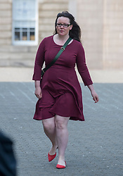 Pictured: Natalie McGarry arrives at court.<br /> <br /> <br /> Former SNP MP Natalie McGarry appeared at Glasgow Sheriff Court at the start of her trial, where she is accused of embezzling almost £41,000 GBP from several independence campaign organisations.<br /> <br /> © Dave Johnston / EEm