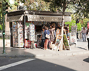 Typical street corner newsagent booth, Seville, Spain
