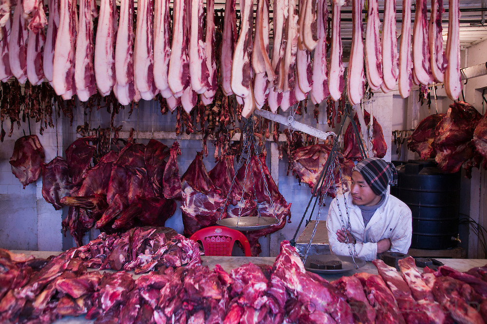 Meat sold at the weekend market in Thimpu, Bhutan.