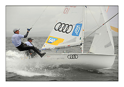 470 Class European Championships Largs - Day 2.Wet and Windy Racing in grey conditions on the Clyde...GER10, Ferdinand GERZ, Patrick FOLLMANN, Deutscher Touring Yacht Club.