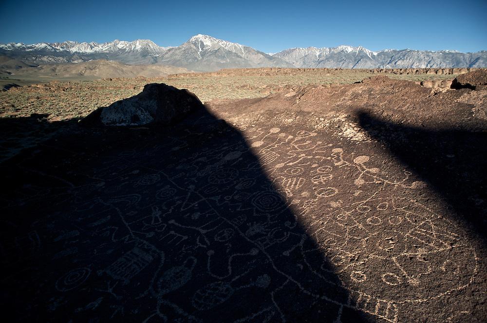 Sky Rock Petroglyphs, a secret slab, one of the few facing the heavens, is believed to be Paiute in origin.  Owens Valley, Eastern Sierra, California.