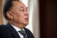06 JUN 2010, BERLIN/GERMANY:<br /> Kasit Piromya, Aussenminister Thailand, waehrend einem Interview, Hotel Adlon<br /> IMAGE: 20100706-02-007