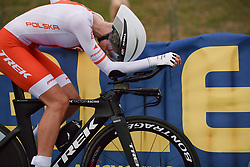Anna Plichta (POL) recovers after the 2020 UEC Road European Championships - Elite Women ITT, a 25.6 km individual time trial in Plouay, France on August 24, 2020. Photo by Sean Robinson/velofocus.com