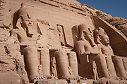 Temple of King Ramses II in Abu Simbel, Nubia, Egypt, moved up from the water's edge in 1964 to prevent being innundated by Lake Nasser
