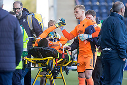Falkirk's keeper David Mitchell taken of injured, with Falkirk's sub keeper Robbie Thomson. Falkirk 2 v 0 Dunfermline, Scottish Challenge Cup played 7/9/2017 at The Falkirk Stadium.