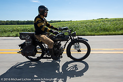 Shinya Kimura riding his Team-80 1915 Indian twin during the Motorcycle Cannonball Race of the Century. Stage-4 from Chillicothe, OH to Bloomington, IN. USA. Tuesday September 13, 2016. Photography ©2016 Michael Lichter.