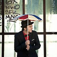 Portrait of Barcelona based Brazilian musician and singer/songwriter Luiz Murá.  Taken at the L'Estel Ferit sculpture, Barceloneta, Platja de Sant Miquel.