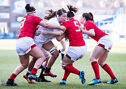 Abbie Scott of England under pressure from Mel Clay of Wales<br /> <br /> Photographer Simon King/Replay Images<br /> <br /> Six Nations Round 3 - Wales Women v England Women - Sunday 24th February 2019 - Cardiff Arms Park - Cardiff<br /> <br /> World Copyright © Replay Images . All rights reserved. info@replayimages.co.uk - http://replayimages.co.uk