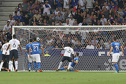 June 1, 2018 - Paris, Ile-de-France, France - Samuel Umtiti scores the first gola for France during the friendly football match between France and Italy at Allianz Riviera stadium on June 01, 2018 in Nice, France..France won 3-1 over Italy. (Credit Image: © Massimiliano Ferraro/NurPhoto via ZUMA Press)