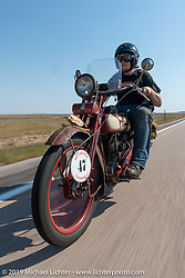 Aaron Loveless riding his 1918 Harley-Davidson model-J on the Motorcycle Cannonball coast to coast vintage run. Stage 9 (294 miles) from Pierre to Sturgis, SD. Sunday September 16, 2018. Photography ©2018 Michael Lichter.
