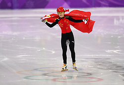 China's LI Jinyu celebrates winning silver in the Short Track Speed Skating - Ladies 1,500m Final at the Gangneung Oval during day eight of the PyeongChang 2018 Winter Olympic Games in South Korea. PRESS ASSOCIATION Photo. Picture date: Saturday February 17, 2018. See PA story OLYMPICS Speed Skating. Photo credit should read: Mike Egerton/PA Wire. RESTRICTIONS: Editorial use only. No commercial use.