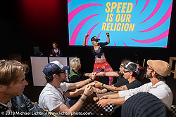 Sultans of Sprint party during the Intermot International Motorcycle Fair. Cologne, Germany. Saturday October 6, 2018. Photography ©2018 Michael Lichter.