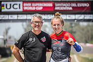 #110 (SMULDERS Laura) NED and Frank Smulders at Round 10 of the 2019 UCI BMX Supercross World Cup in Santiago del Estero, Argentina