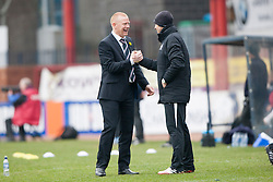 Falkirk's manager Gary Holt cele Mark Beck scoring their goal.<br /> half time : Dundee 0 v 1 Falkirk, Scottish Championship game played today at Dundee's Dens Park.<br /> © Michael Schofield.