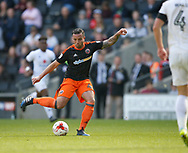 Samir Carruthers of Sheffield Utd takes a shot on goal during the English League One match at  Stadium MK, Milton Keynes. Picture date: April 22nd 2017. Pic credit should read: Simon Bellis/Sportimage