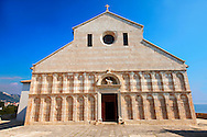 The Romanesque Tuscan facade of the previous Cathedral of St Mary the Great (Crkva svete Marije Velike) consecrated by Pope Alexander III in the 12th century . Rab Island, Craotia .<br /> <br /> Visit our MEDIEVAL PHOTO COLLECTIONS for more   photos  to download or buy as prints https://funkystock.photoshelter.com/gallery-collection/Medieval-Middle-Ages-Historic-Places-Arcaeological-Sites-Pictures-Images-of/C0000B5ZA54_WD0s