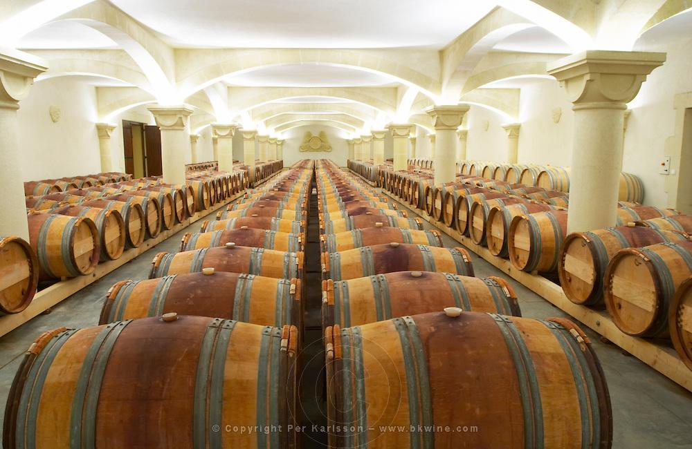 Chateau St Martin de la Garrigue. Languedoc. Barrel cellar. Illuminated cellar. Spectacular vaulted barrel cellar. France. Europe.