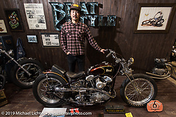 Go Takamine of Brat Style Cycles at the Annual Mooneyes Yokohama Hot Rod and Custom Show. Japan. Sunday, December 7, 2014. Photograph ©2014 Michael Lichter.
