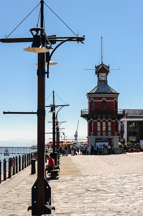 The Victoria & Alfred Waterfront in the harbour of Cape Town, South Africa. The old clock tower.