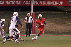 02 September 2017:   Artiss Henderson finds a huge running lane during the Butler Bulldogs at  Illinois State Redbirds Football game at Hancock Stadium in Normal IL (Photo by Alan Look)