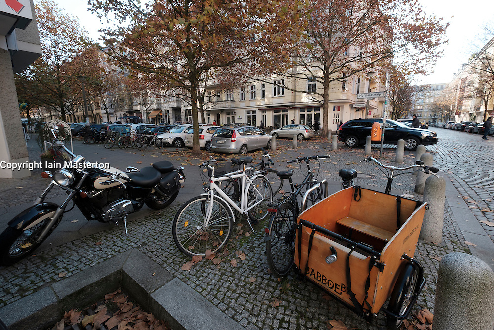 Bicycles parked  on Hufelandstrasse in Prenzlauer Berg, Berlin Germany