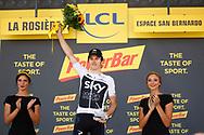 Podium, Hotess, Miss, Geraint Thomas (GBR - Team Sky) winner, during the 105th Tour de France 2018, Stage 11, Alberville - La Rosiere Espace Bernardo (108,5 km) on July 18th, 2018 - Photo Luca Bettini / BettiniPhoto / ProSportsImages / DPPI