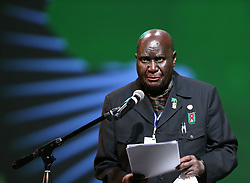 ADDIS ABABA, May 25, 2013  Former President of Zambia Kenneth Kaunda addresses the ceremony to mark the 50th anniversary of the founding of the African Union, the successor of the Organisation of African Unity (OAU), in Addis Ababa, Ethiopia, on May 25, 2013. (Xinhua/Meng Chenguang) (Credit Image: © Xinhua via ZUMA Wire)