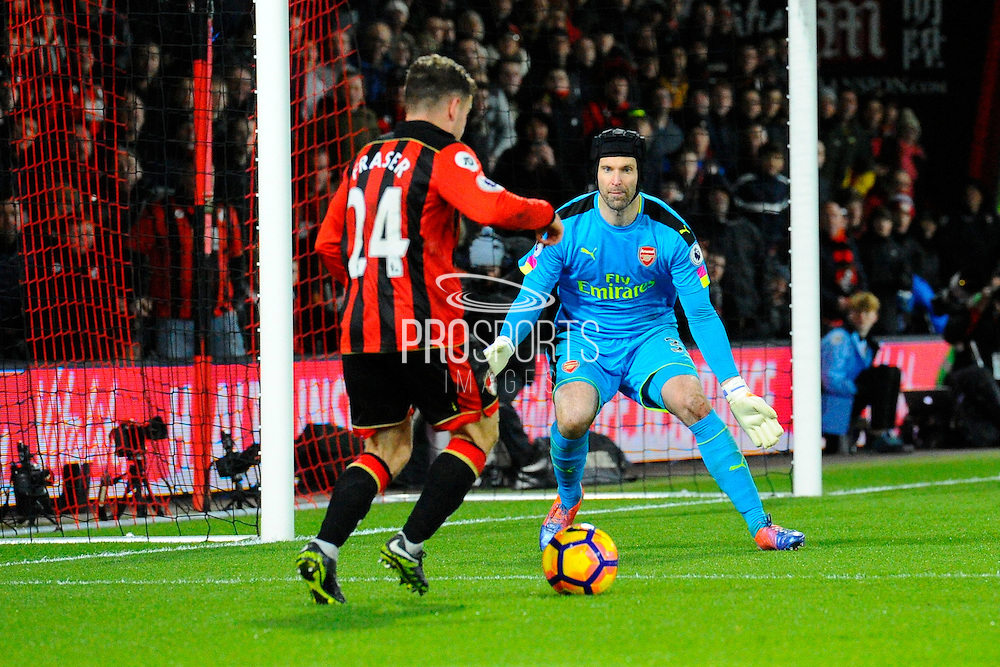 Ryan Fraser of AFC Bournemouth runs in to score a goal to give a 3-0 lead to the home team during the Premier League match between Bournemouth and Arsenal at the Vitality Stadium, Bournemouth, England on 3 January 2017. Photo by Graham Hunt.
