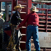 Cal Ruark welcomes Parker Breding to the arena at the Darby MT Elite Proffesionals Bull Riding Event July 7th 2017.  Photo by Josh Homer/Burning Ember Photography.  Photo credit must be given on all uses.