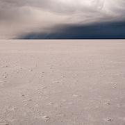 Minimal color during a storm along the Bonneville Salt Flats in Utah.