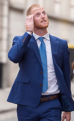 © Licensed to London News Pictures. 09/08/2018. Bristol, UK. BEN STOKES with his wife CLARE RATCLIFFE arrives back at Bristol Crown court at lunchtime today for the fourth day of his trial on charges of affray that relate to a fight outside a Bristol nightclub on September 25 2017. England cricketer Ben Stokes and two other men, Ryan Ali, 28, and Ryan Hale, 27, all deny the charge. Stokes, Ali and Hale are jointly charged with affray in the Clifton Triangle area of Bristol on September 25 last year, several hours after England had played a one-day international against the West Indies in the city. A 27-year-old man allegedly suffered a fractured eye socket in the incident. Photo credit: Simon Chapman/LNP