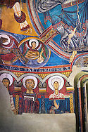 Romanesque frescoes from the Church of Sant Clement de Taull, Vall de Boi, Alta Ribagorca, Spain. Painted around 1123 depicting The virgin Mary and the Apostles.  National Art Museum of Catalonia, Barcelona. MNAC 15806 .<br /> <br /> If you prefer you can also buy from our ALAMY PHOTO LIBRARY  Collection visit : https://www.alamy.com/portfolio/paul-williams-funkystock/romanesque-art-antiquities.html<br /> Type -     MNAC     - into the LOWER SEARCH WITHIN GALLERY box. Refine search by adding background colour, place, subject etc<br /> <br /> Visit our ROMANESQUE ART PHOTO COLLECTION for more   photos  to download or buy as prints https://funkystock.photoshelter.com/gallery-collection/Medieval-Romanesque-Art-Antiquities-Historic-Sites-Pictures-Images-of/C0000uYGQT94tY_Y