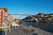 Dom Luis I bridge and Cais da Ribeira porto portugal